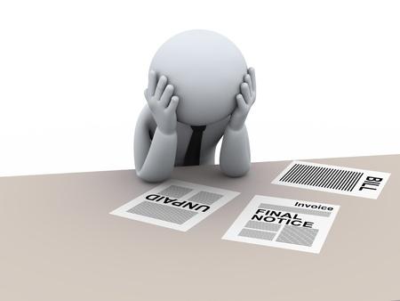 手形、未払い負債および財政の人々 - 人間のキャラクターの 3 d レンダリングを心配して強調した人の 3 d イラストレーション