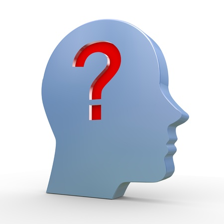 3d illustration of human head and question mark  illustration