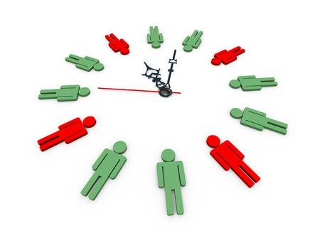 elapsed: 3d illustration of closeup of human shape male symbols clock