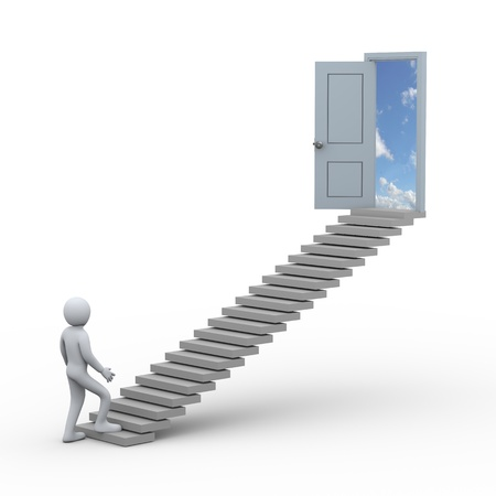 3d illustration of man and stairs to open door   3d rendering of people - human character  illustration