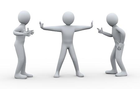 resolving: Illustrazione 3D di persona problema risolutivo di due discutere e litigare persona 3D rendering di persone controversi e di conflitto - carattere umano Archivio Fotografico