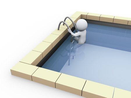 3d illustration of man in swimming pool  3d rendering of human character illustration