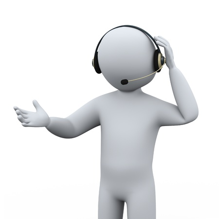 callcenter: 3d illustration of man with headphone at call center for customer help and support   3d rendering of human people character