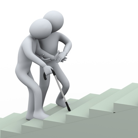 weakness: 3d illustration of person supporting and helping old man for climbing stair   3d rendering of people - human character  Stock Photo