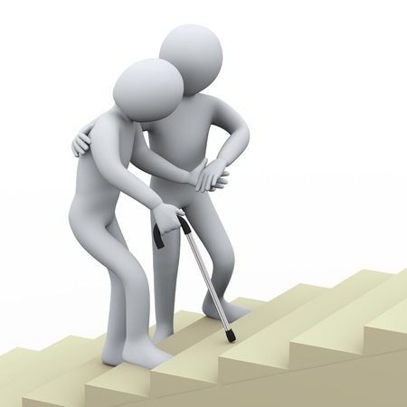 therapist: 3d illustration of old man being helped by young person  3d rendering of people - human character