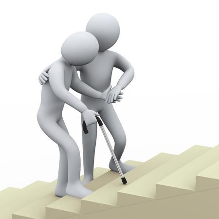 ser humano: Ilustración 3D de hombre de edad siendo ayudado por el joven persona de representación 3D de la gente - carácter humano Foto de archivo