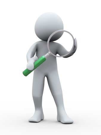 finding: 3d Illustration of man holding magnifying glass  3d rendering of human character  Stock Photo
