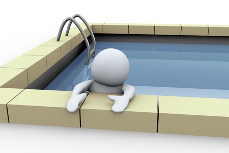 3d illustration of man in swimming pool  illustration
