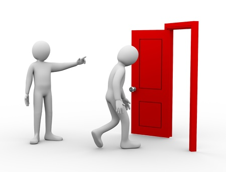 3d Illustration of person pointing to open order, get out of here 3d rendering of conflict people - human character
