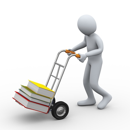 handtruck: 3d illustration of person pushing hand truck with books  3d rendering of people - human character  Stock Photo