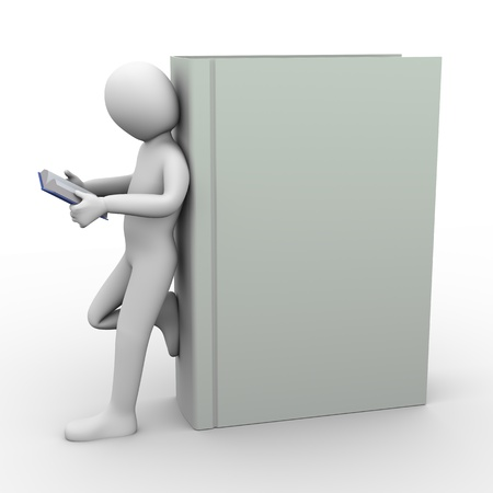 3d illustration of man standing with large book reading book   3d rendering of people - human character  illustration