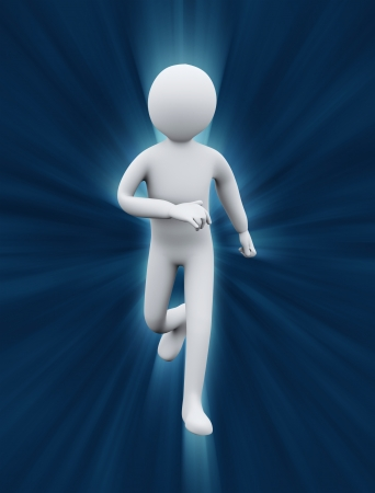 stamina: 3d illustration of person running on light rays flare representing exercise and physical fitness  3d rendering of people  - human character