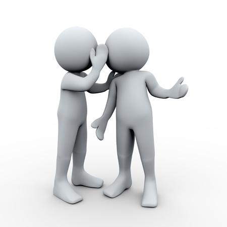 whispering: 3d Illustration of man whispered a secret in other man