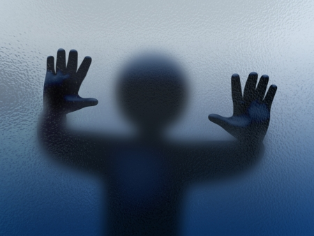 thriller: 3d abstract illustration of man standing behind frosted glass   3d rendering of spooky human character hands  Stock Photo