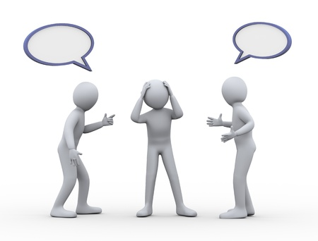 personas discutiendo: 3d ilustración de ayudar al hombre tensionado entre los dos discutiendo y peleando persona 3d de personas en disputa y el conflicto - el carácter humano