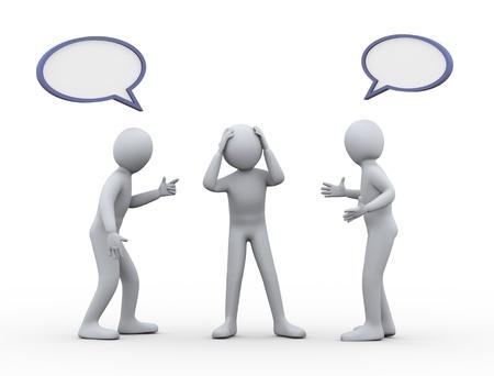resolving: Illustrazione 3D di aiutare l'uomo ha sottolineato tra due discutere e litigare persona 3D rendering di persone controversi e di conflitto - carattere umano Archivio Fotografico