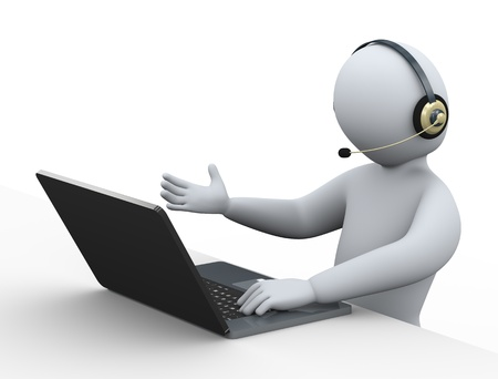 callcenter: 3d illustration of person with headphone using laptop at call center for customer help and support   3d rendering of human people character