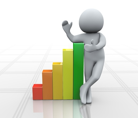 3d Illustration of man standing with growing progress bars  3d rendering of human character Stock Illustration - 20958961