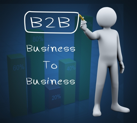 b2e: 3d illustration of person with marker writing b2b business to business  3d rendering of people - human character