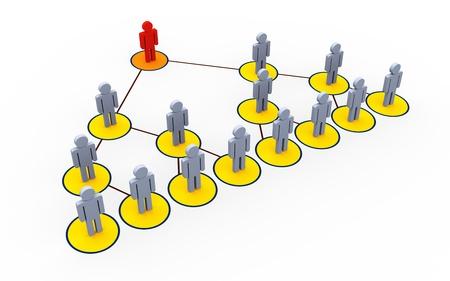 referred: 3d illustration of mlm - multi level marketing concept