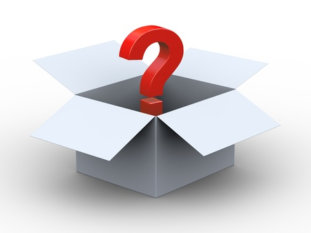 3d illustration of red question mark in the box illustration