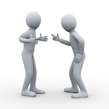 yelling: 3d illustration of man pointing finger and yelling at another person. 3d rendering of disputed and conflict people - human character. Stock Photo
