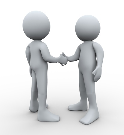 3d Illustration of man hand shaking with another guy. 3d rendering of human character illustration