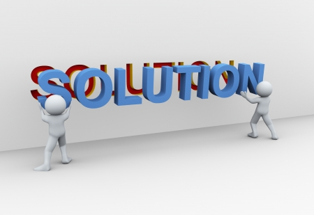 3d Illustration of people placing word solution. 3d rendering of human character.