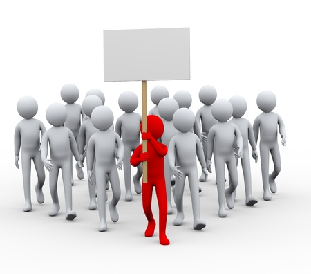 3d illustration of group leader with banner. People crowd protesting and strike walk.  3d rendering of human people character.