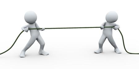 Illustrazione 3D di uomo tirando una corda. Rendering 3D di carattere umano Archivio Fotografico - 20958976