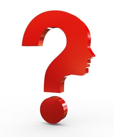 mente humana: Ilustración 3D de signo de interrogación rostro humano símbolo