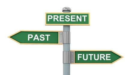 3D-afbeelding van verkeersborden van woorden verleden heden en toekomst Stockfoto
