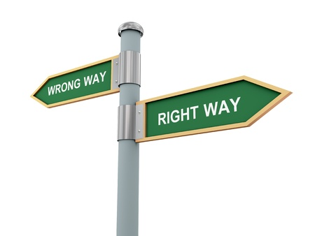 right of way: 3d illustration of road signs of words right way and wrong way.