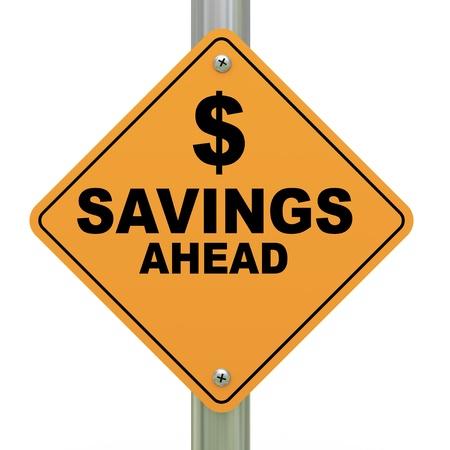 3d Illustration of savings ahead road sign illustration