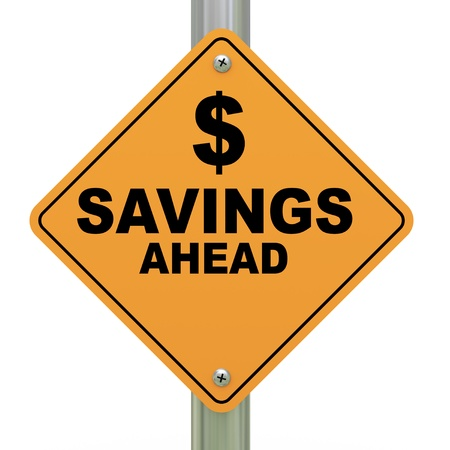 3d Illustration of savings ahead road sign Stok Fotoğraf