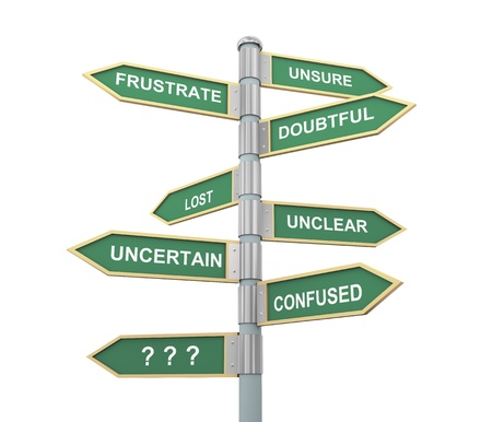 unanswered: 3d illustration of words sign post related to concept of confusion Stock Photo