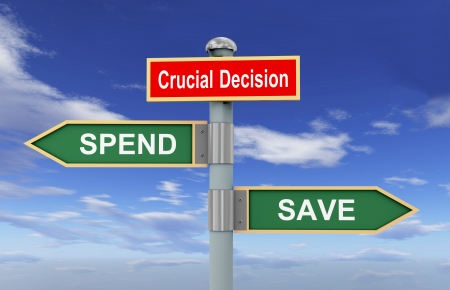 crucial: 3d illustration of road signs of words crucial decision, spend and save on sky and clouds background