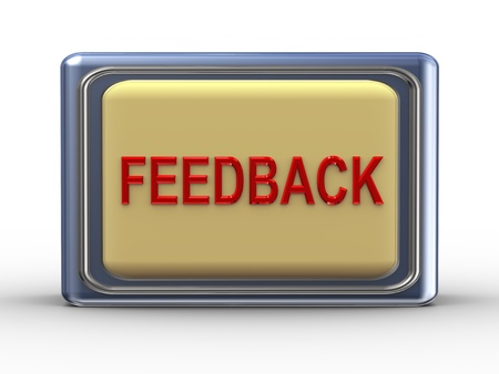 correspond: 3d Illustration of shiny feedback button Stock Photo