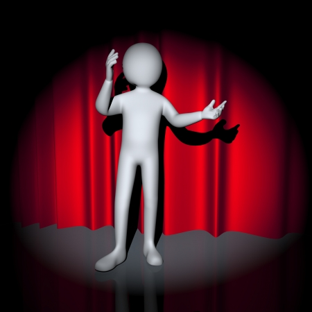 stage performer: 3d illustration of person performing and posing on stage in front of red curtain. 3d rendering of people - human character.