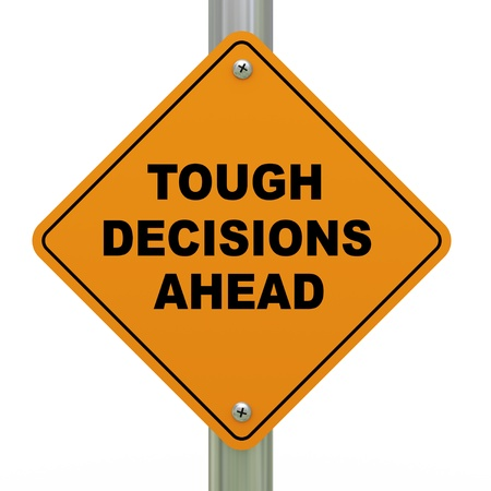 decision making: 3d Illustration of tough decision ahead traffic sign Stock Photo