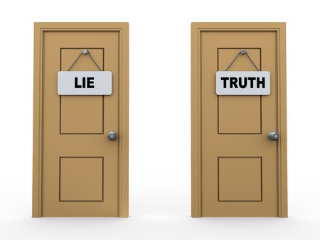 deceive: 3d illustration of two doors with lie and truth sign board