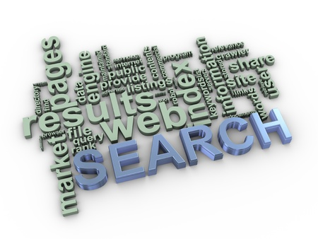 search query: 3d Illustration of search wordcloud