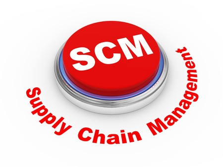 scm: 3d illustration of scm   supply chain management   button