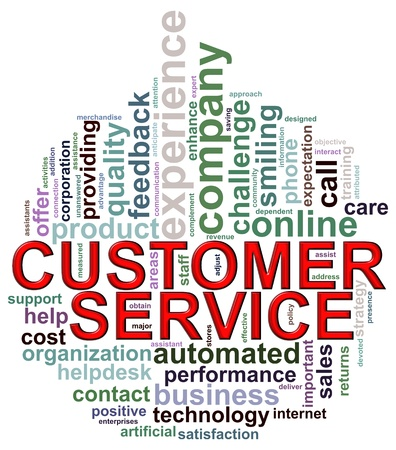 customer care: Illustration of wordcloud wordtags of customer service in circular shape