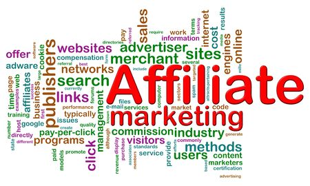 Illustration of word tags of affiliate marketing wordcloud illustration