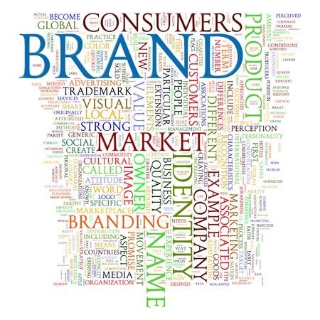 marketing strategy: Illustration of words tags of brand wordcloud Stock Photo