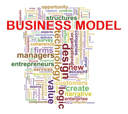 Illustration of Worldcloud word tags of business model concept  Stock Photo