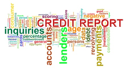 Illustration of Worldcloud word tags of credit history report illustration