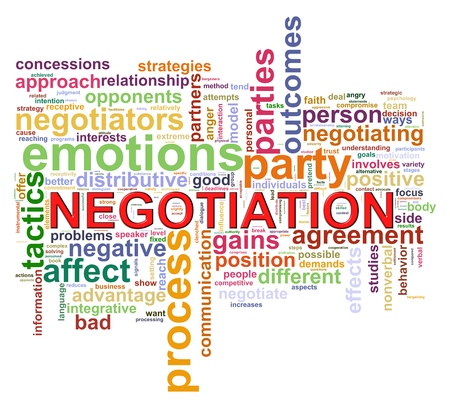 Illustration of Wordcloud word tags of negotiation illustration