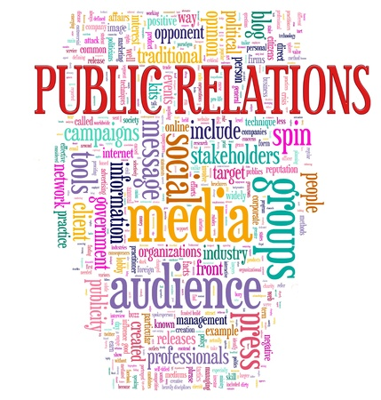 public services: Illustration of Word tags of public relations